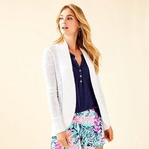 LILLY PULITZER Amalie Open Front Cardigan White W5